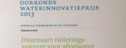 Eervolle vermelding waterinnovatieprijs 2013 (NL) - duurzaam DWA riolering